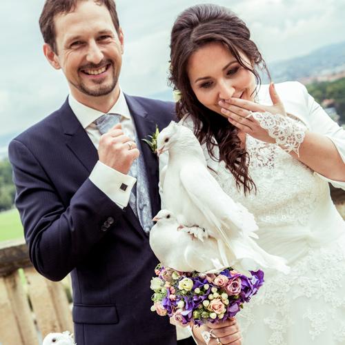 Hochzeitsfotograf Dresden - 2 Hochzeitstauben von Hochzeitstauben Dresden lieben sich auf dem Brautstrauß der verwunderten Braut.